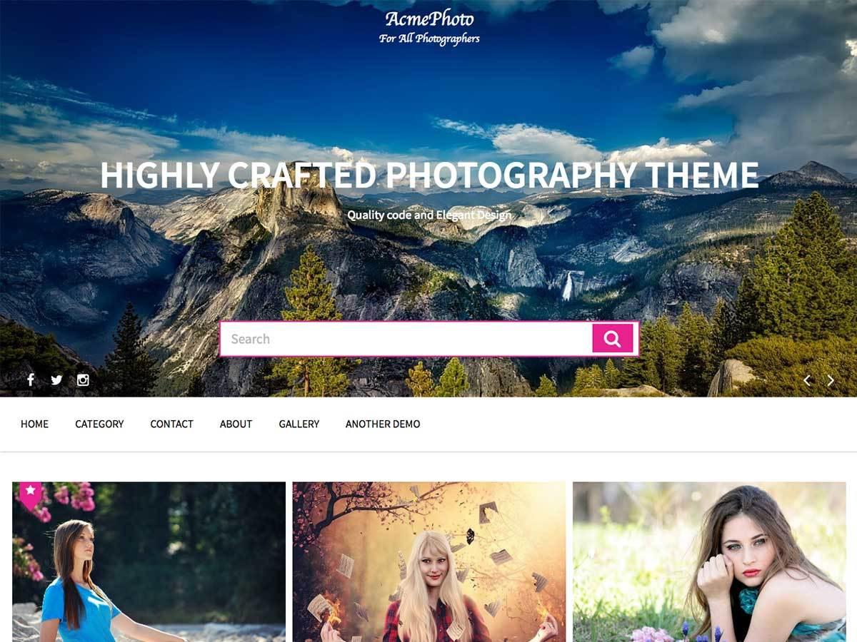 Download AcmePhoto 1.1.2 – Free WordPress Theme