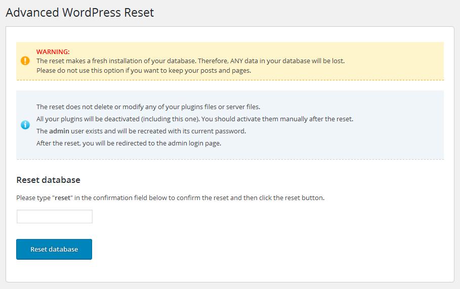 Download Advanced WordPress Reset 1.0.1 – Free WordPress Plugin