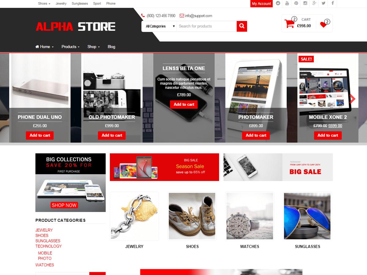 Download Alpha Store 1.4.1 – Free WordPress Theme