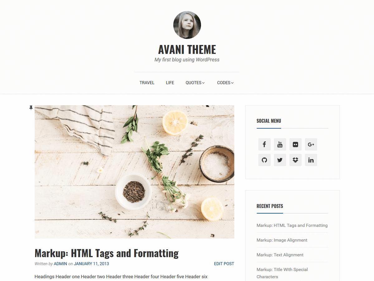 Download Avani 1.1.2 – Free WordPress Theme