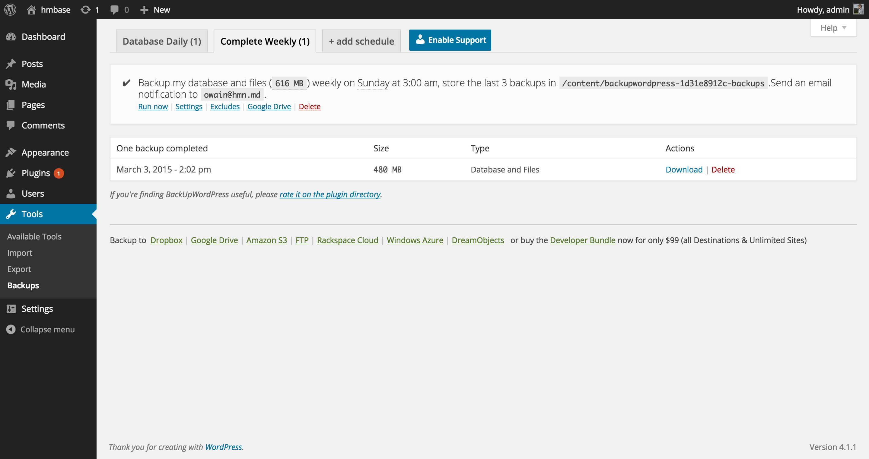 Download BackUpWordPress 3.7.2 – Free WordPress Plugin