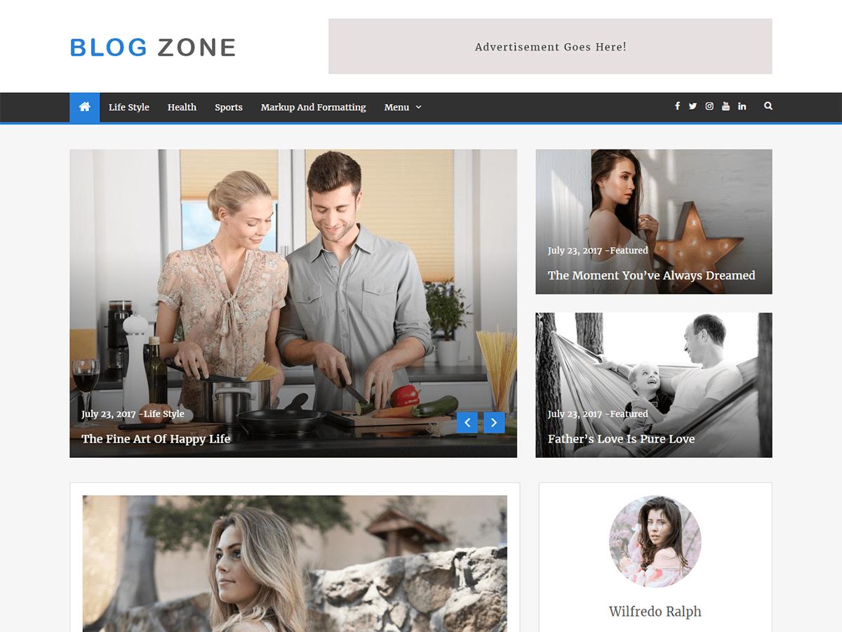 Download Blog Zone 1.0.7 – Free WordPress Theme