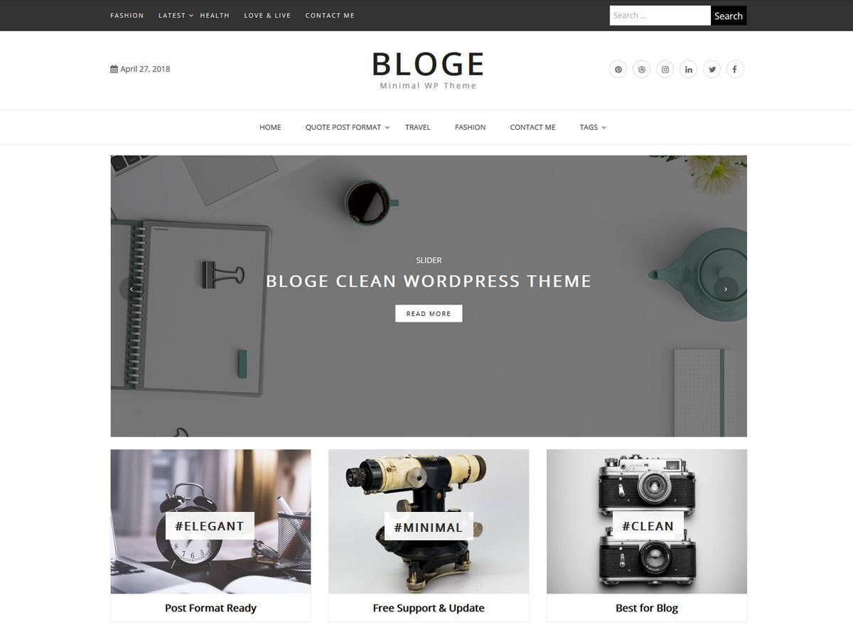 Download Bloge 1.0.2 – Free WordPress Theme
