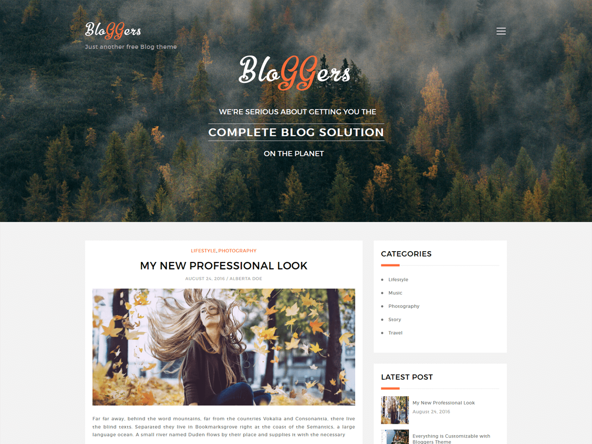 Download Bloggers Lite 1.3.9 – Free WordPress Theme