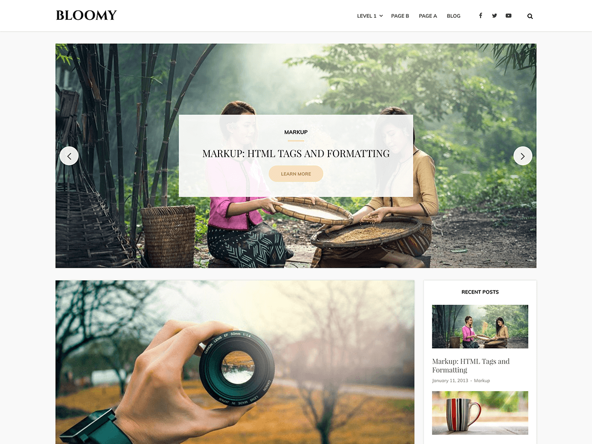 Download Bloomy 1.0.11 – Free WordPress Theme