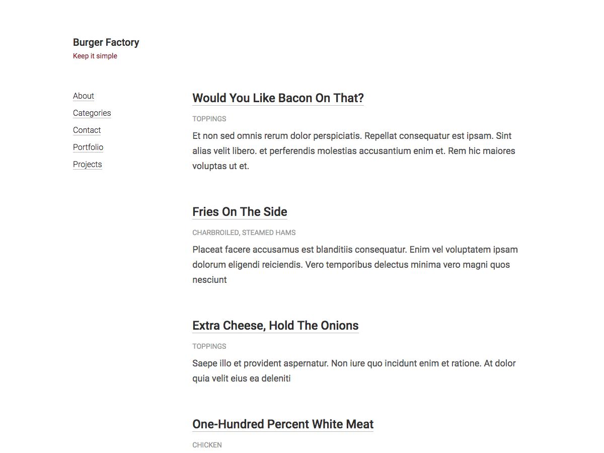 Download Burger Factory 1.1 – Free WordPress Theme