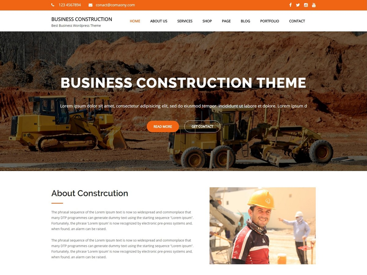 Download Business Construction 1.0.2 – Free WordPress Theme
