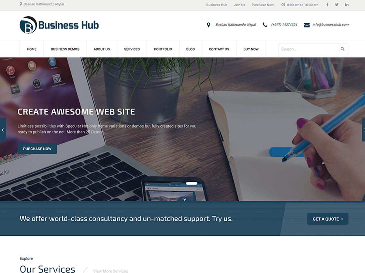 Download Business Hub 1.0.5 – Free WordPress Theme