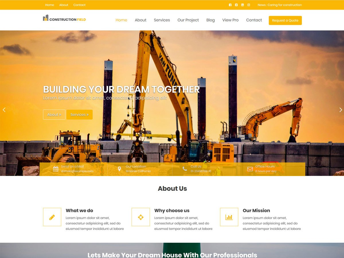 Download Construction Field 1.0.4 – Free WordPress Theme