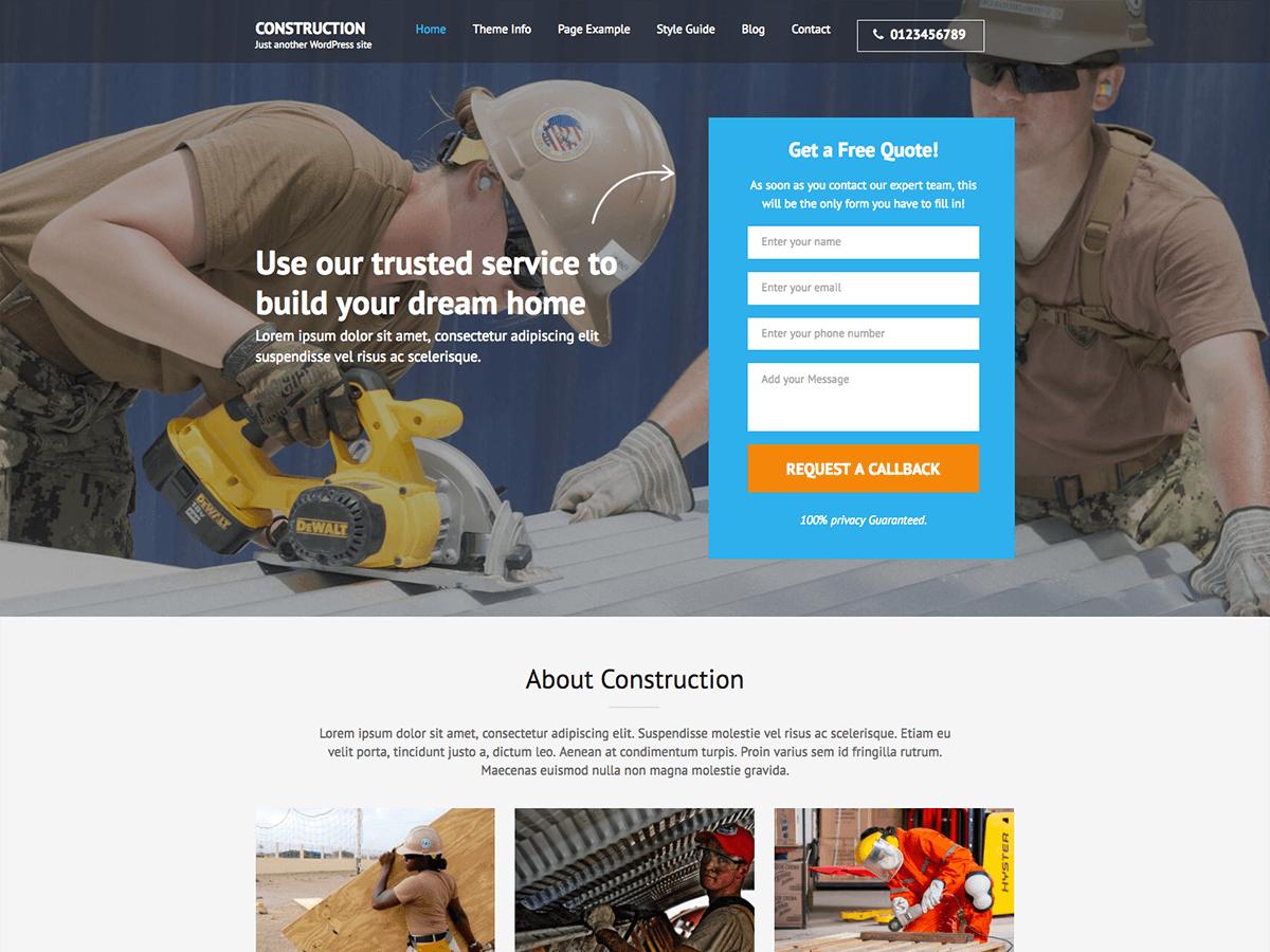 Download Construction Landing Page 1.1.6 – Free WordPress Theme