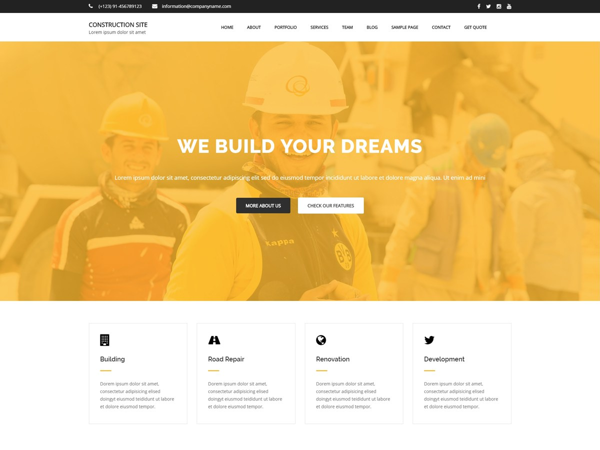 Download Construction Site 1.0.1 – Free WordPress Theme