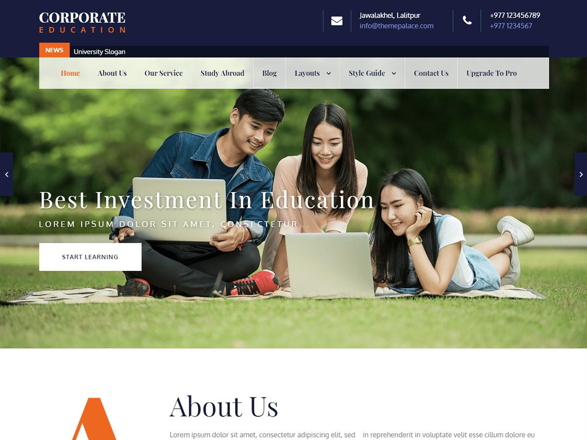 Download Corporate Education 1.0.2 – Free WordPress Theme