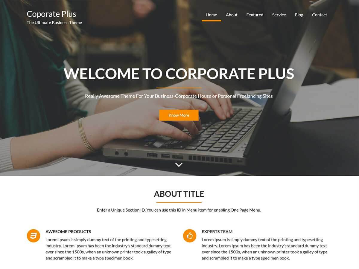 Download Corporate plus 1.3.3 – Free WordPress Theme