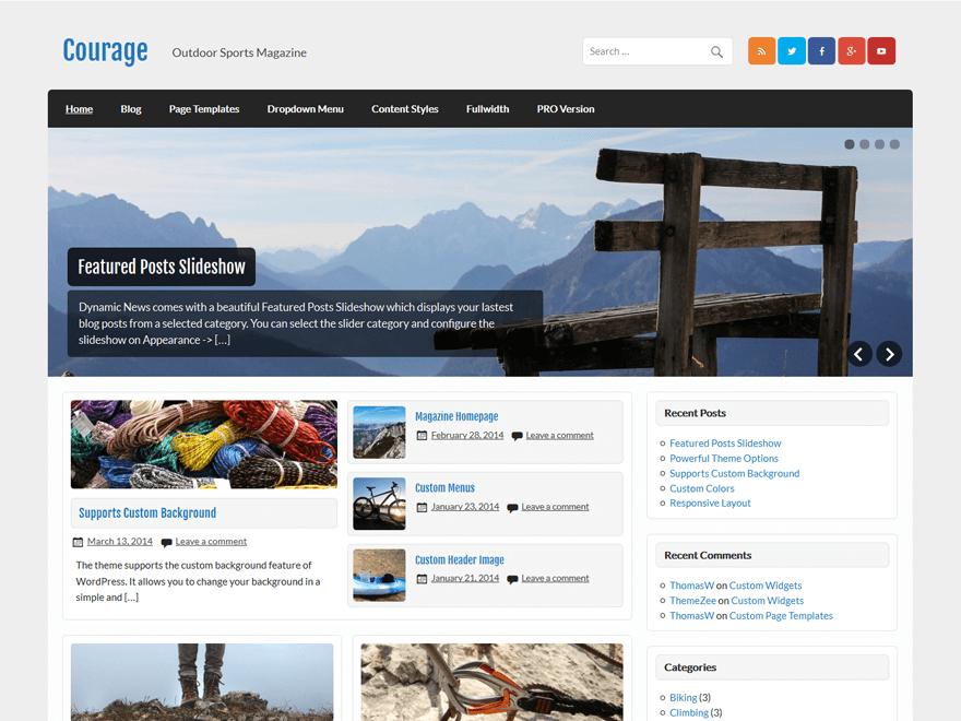 Download Courage 1.4 – Free WordPress Theme