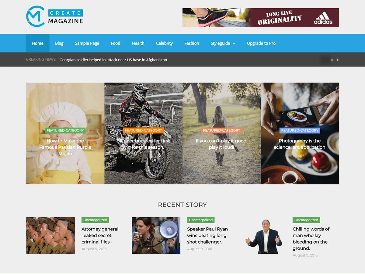 Download Create Magazine 1.6 – Free WordPress Theme