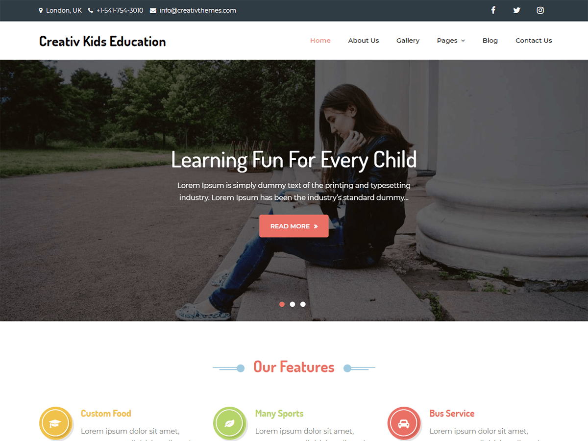 Download Creativ Kids Education 1.0 – Free WordPress Theme