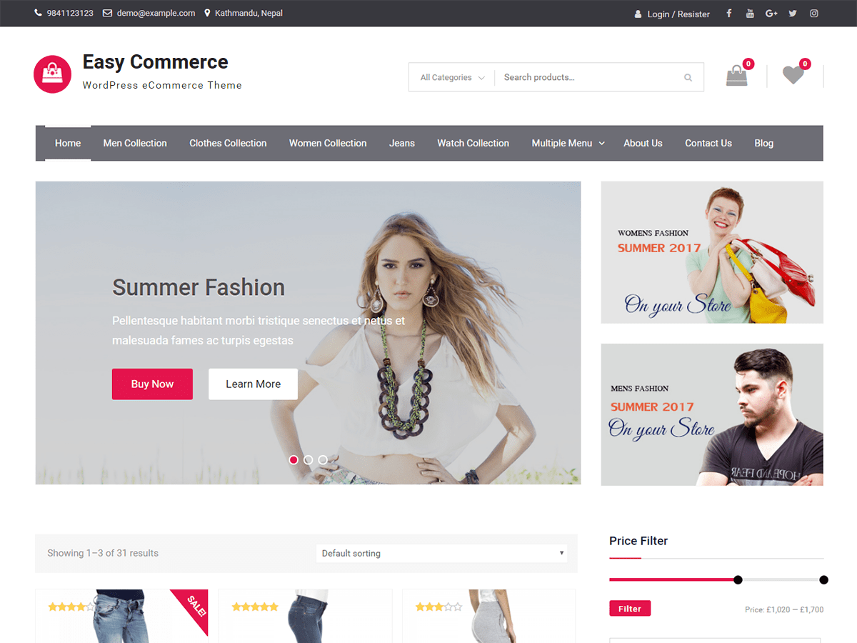 Download Easy Commerce 1.0.5 – Free WordPress Theme