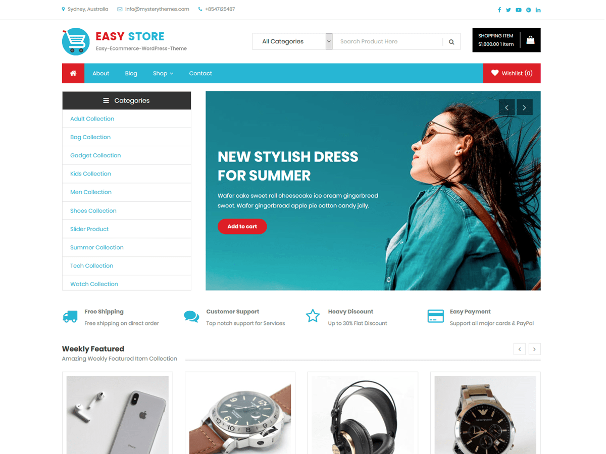 Download Easy Store 1.0.11 – Free WordPress Theme