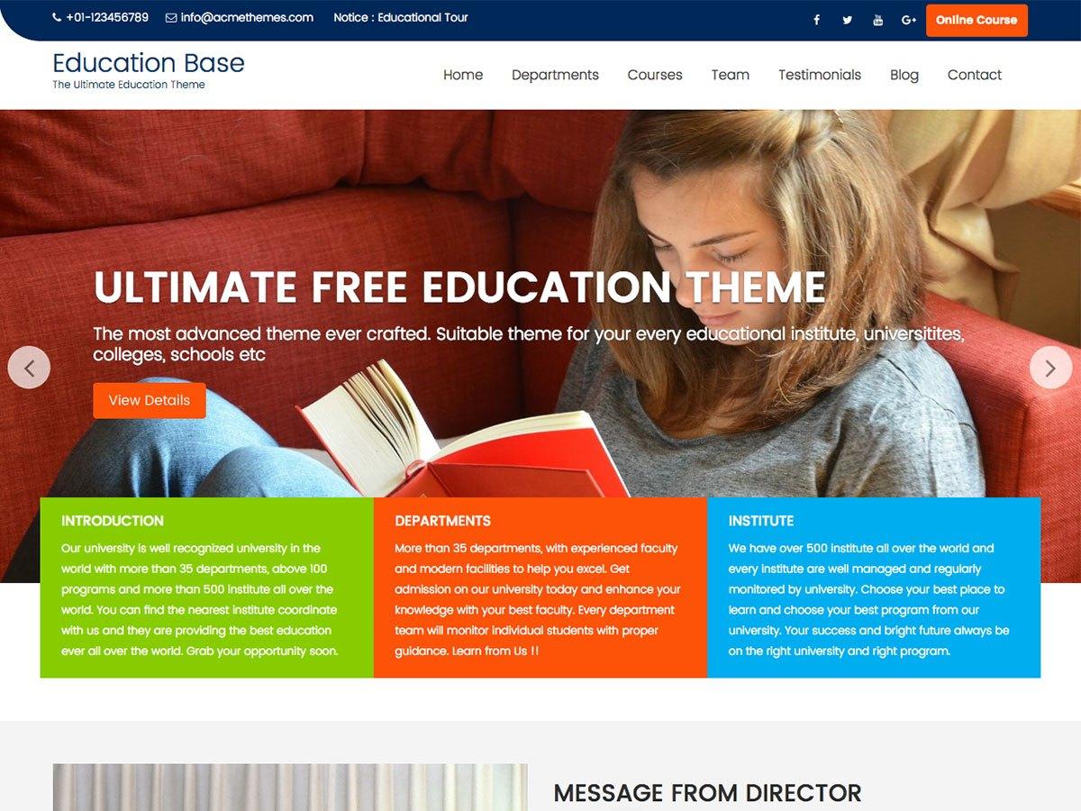 Download Education Base 1.4.7 – Free WordPress Theme