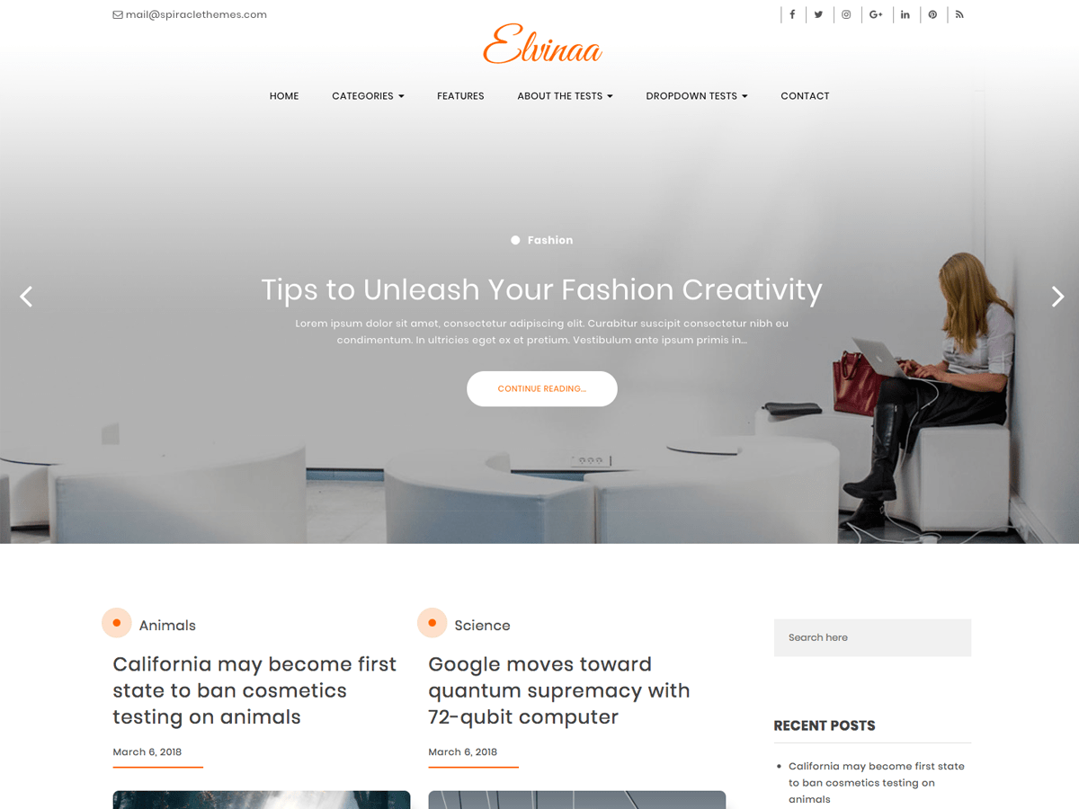 Download Elvinaa 1.0.9 – Free WordPress Theme