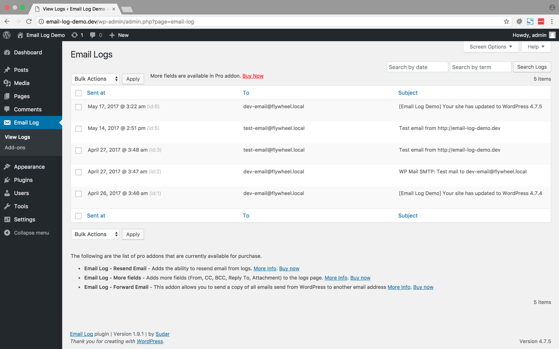 Download Email Log 2.2.5 – Free WordPress Plugin