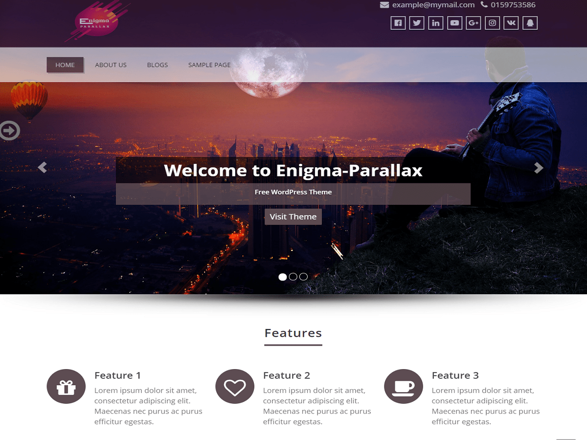 Download Enigma-parallax 2.1.9 – Free WordPress Theme
