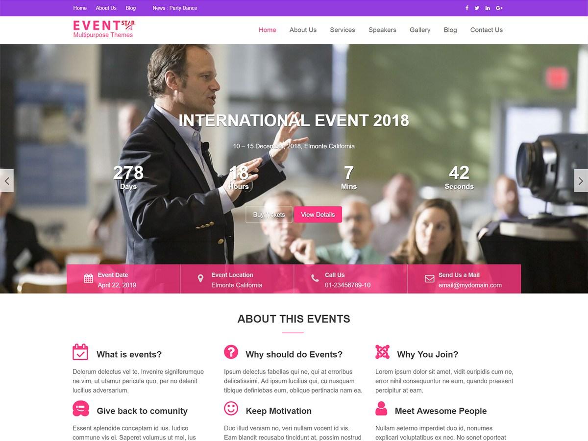 Download Event Star 1.0.2 – Free WordPress Theme