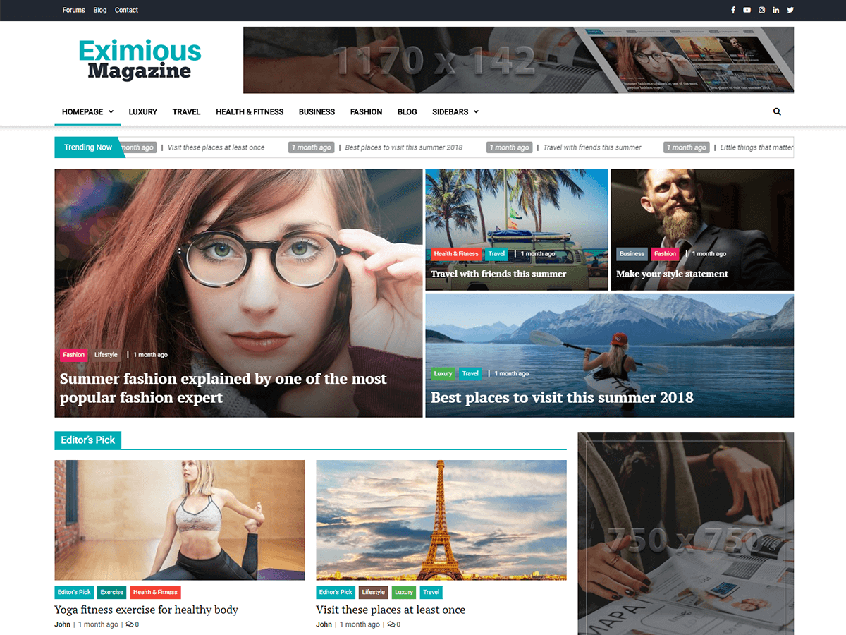 Download Eximious Magazine 1.0.6 – Free WordPress Theme