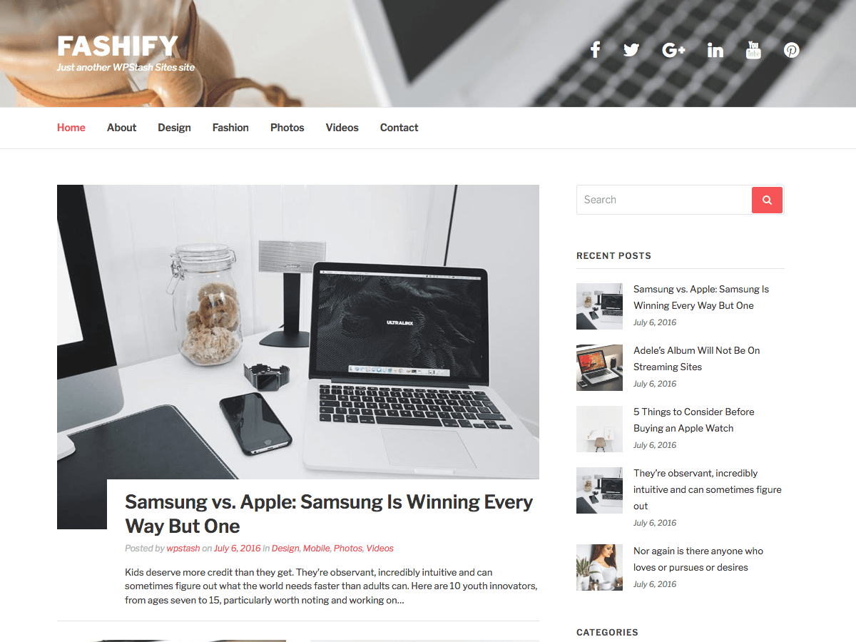 Download Fashify 0.0.8 – Free WordPress Theme