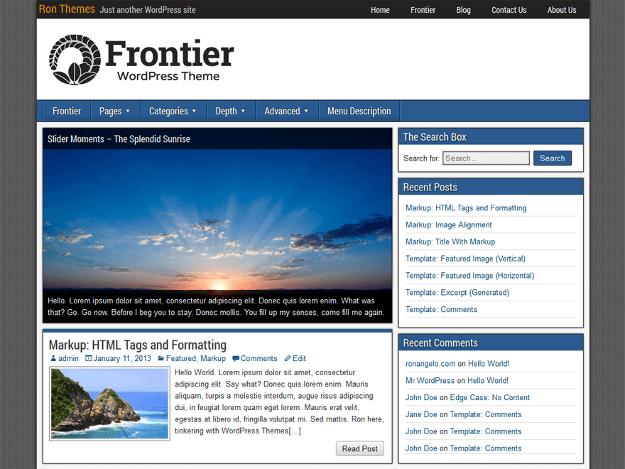 Download Frontier 1.3.2 – Free WordPress Theme