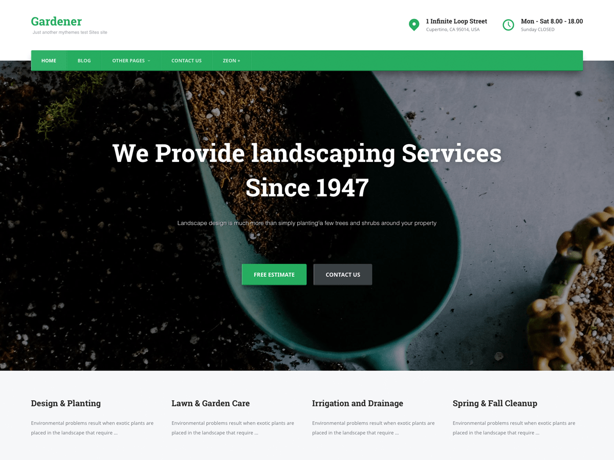 Download Gardener 0.0.27 – Free WordPress Theme
