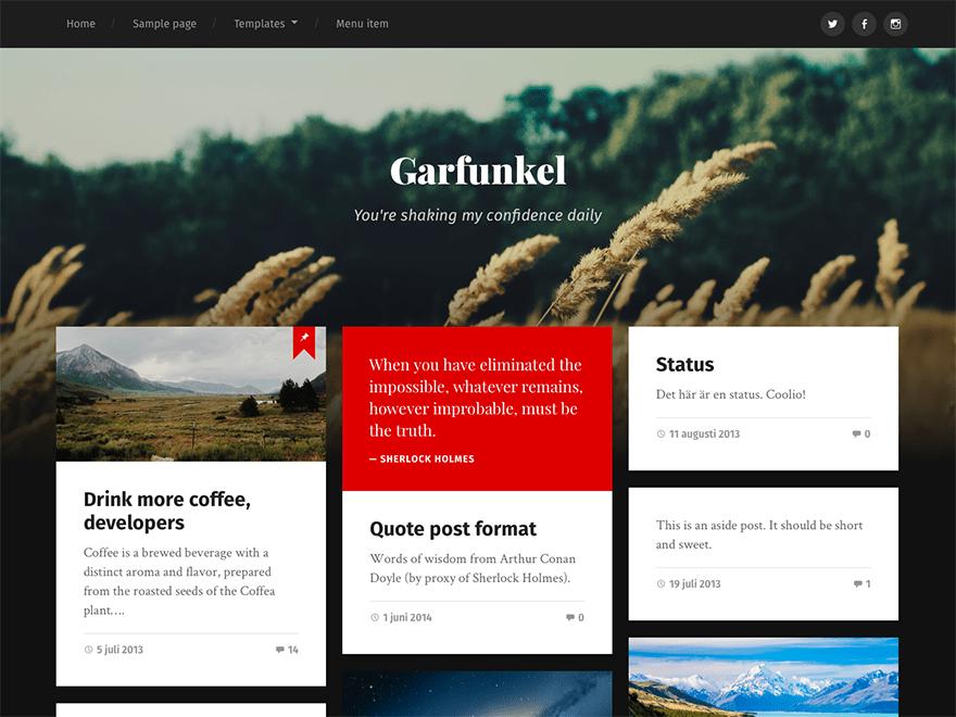 Download Garfunkel 1.13 – Free WordPress Theme