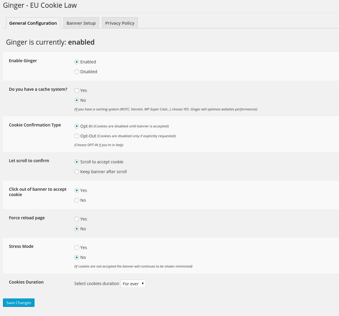 Download Ginger – EU Cookie Law 4.2 – Free WordPress Plugin