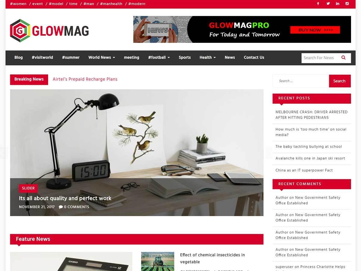 Download GlowMag 1.0.3 – Free WordPress Theme