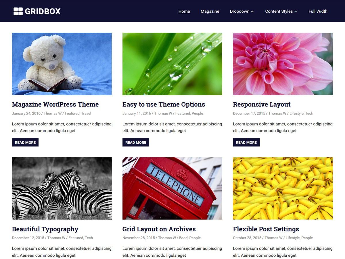 Download Gridbox 1.6 – Free WordPress Theme