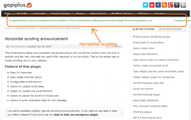 Download Horizontal scrolling announcement 8 7 - Free