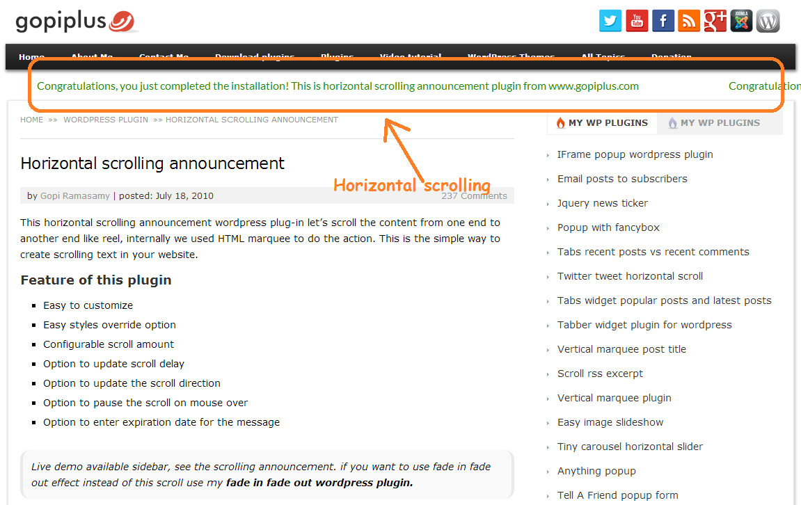 Download Horizontal scrolling announcement 8.7 – Free WordPress Plugin