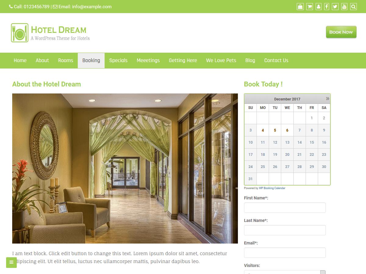 Download Hotel Dream 1.0.3 – Free WordPress Theme