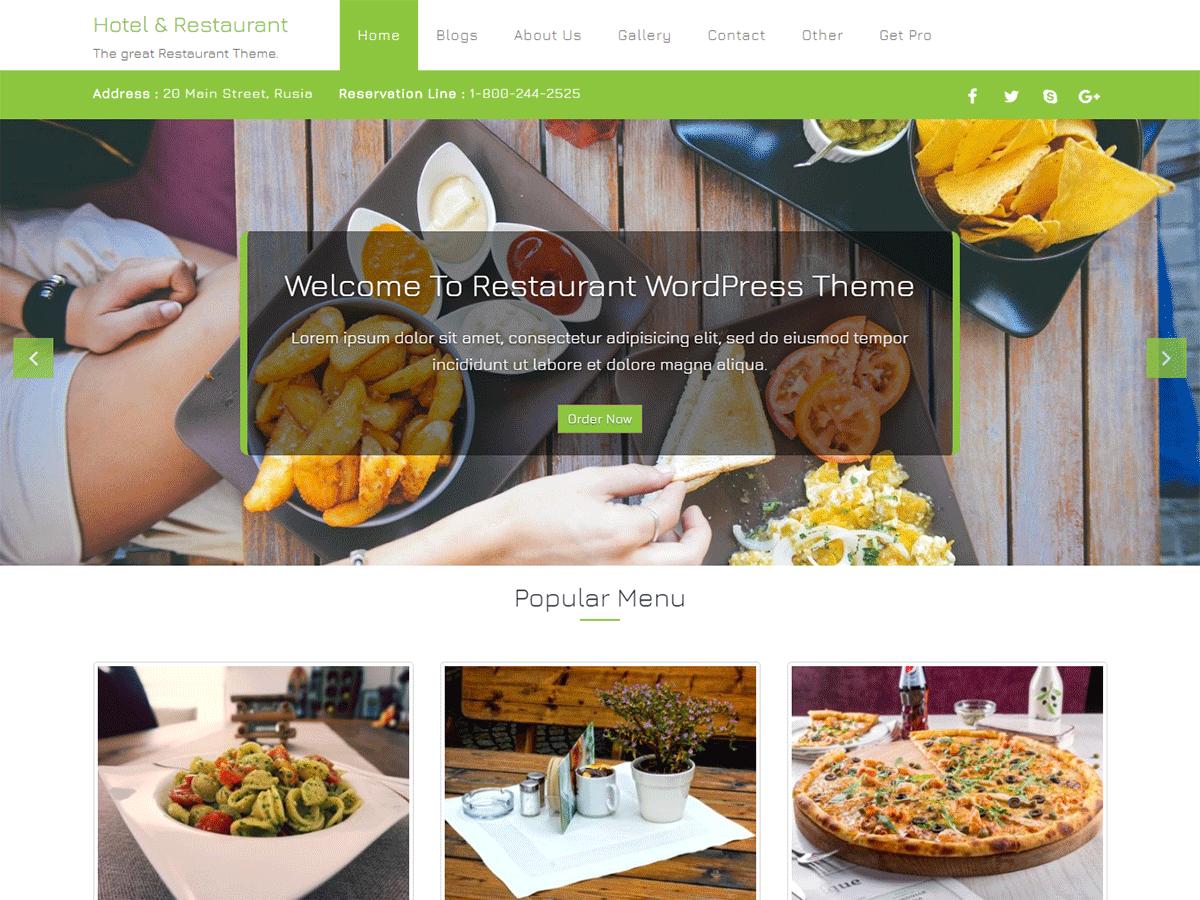 Download Hotel & Restaurant 1.0.2 – Free WordPress Theme