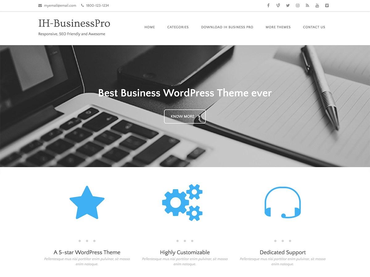Download IH Business Pro 1.1.0 – Free WordPress Theme