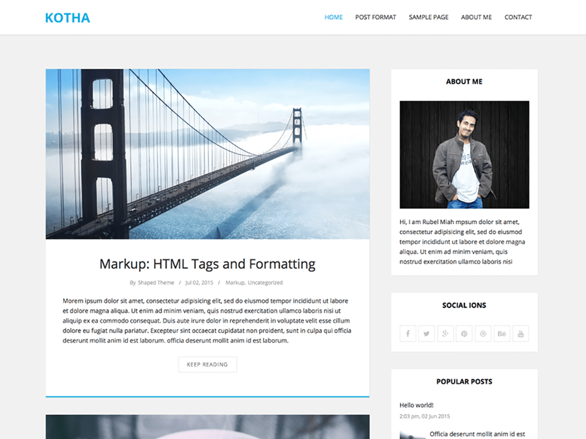 Download Kotha 1.4.1 – Free WordPress Theme