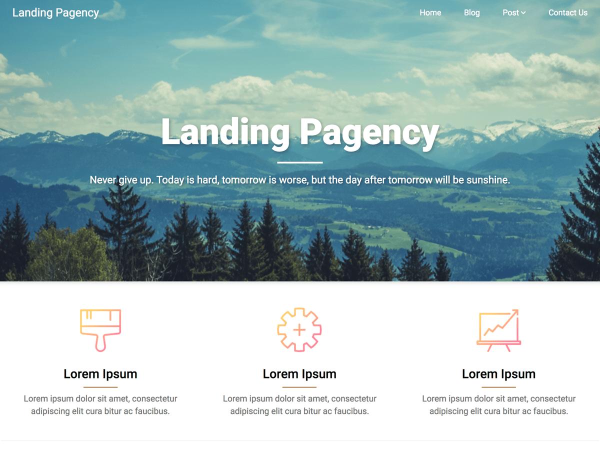 Download Landing Pagency 5.1 – Free WordPress Theme