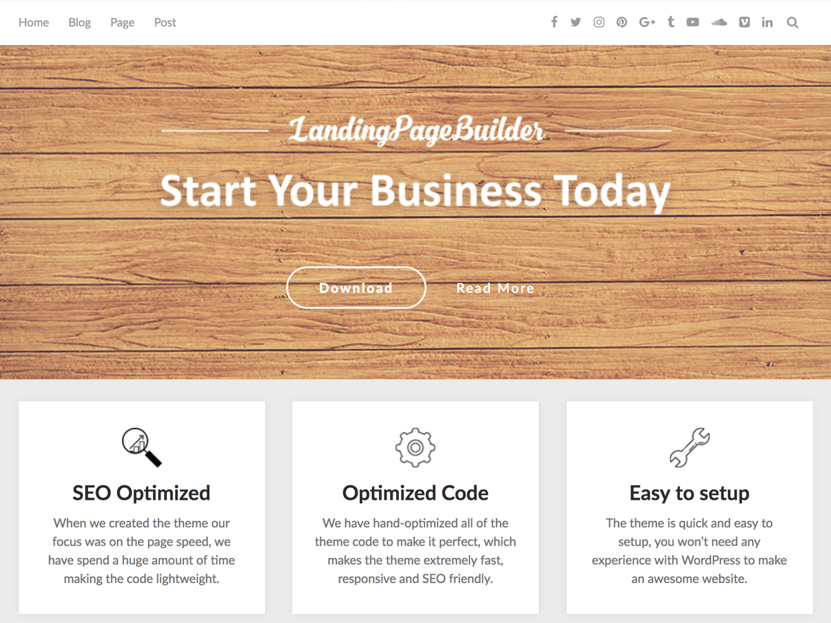 Download LandingPageBuilder 1.6 – Free WordPress Theme