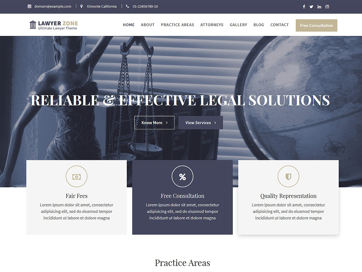 Download Lawyer Zone 1.0.2 – Free WordPress Theme