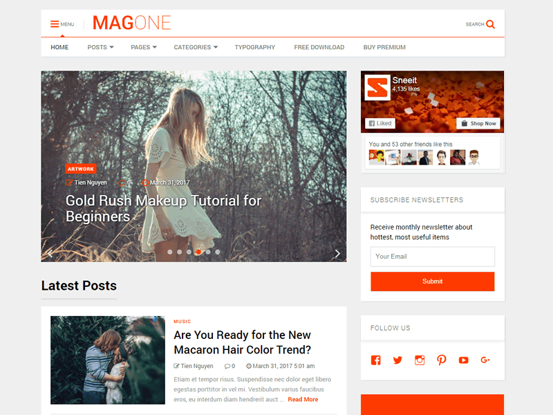 Download MagOne Lite 2.2 – Free WordPress Theme