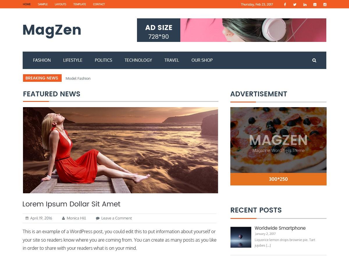 Download MagZen 1.0.8 – Free WordPress Theme
