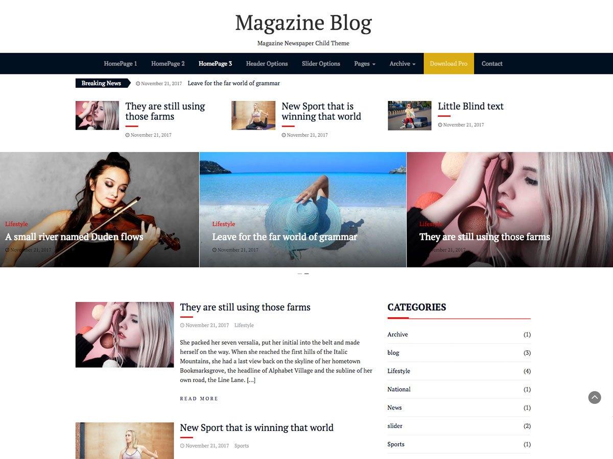Download Magazine Blog 1.0.1 – Free WordPress Theme