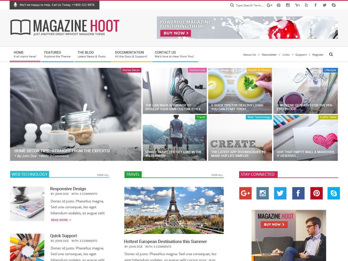 Download Magazine Hoot 1.6.7 – Free WordPress Theme