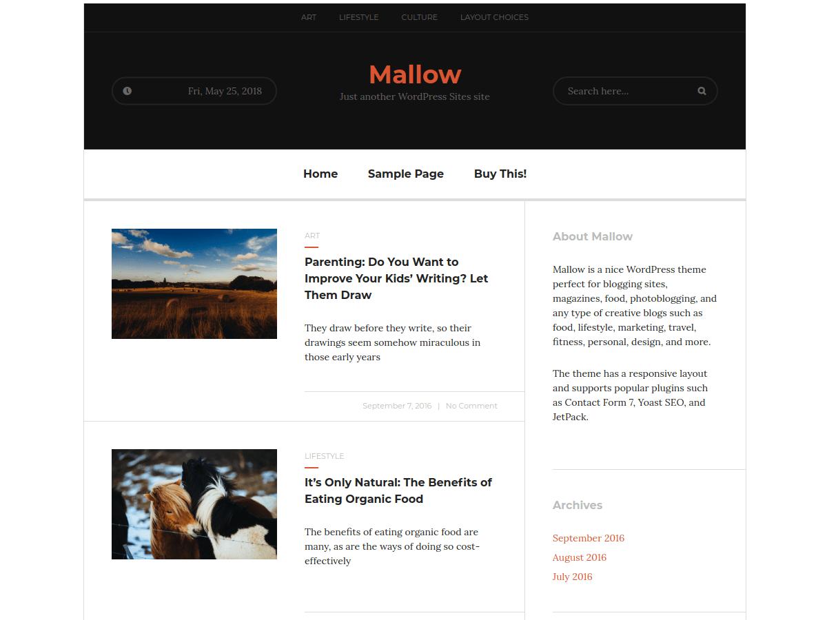 Download Mallow 1.17 – Free WordPress Theme