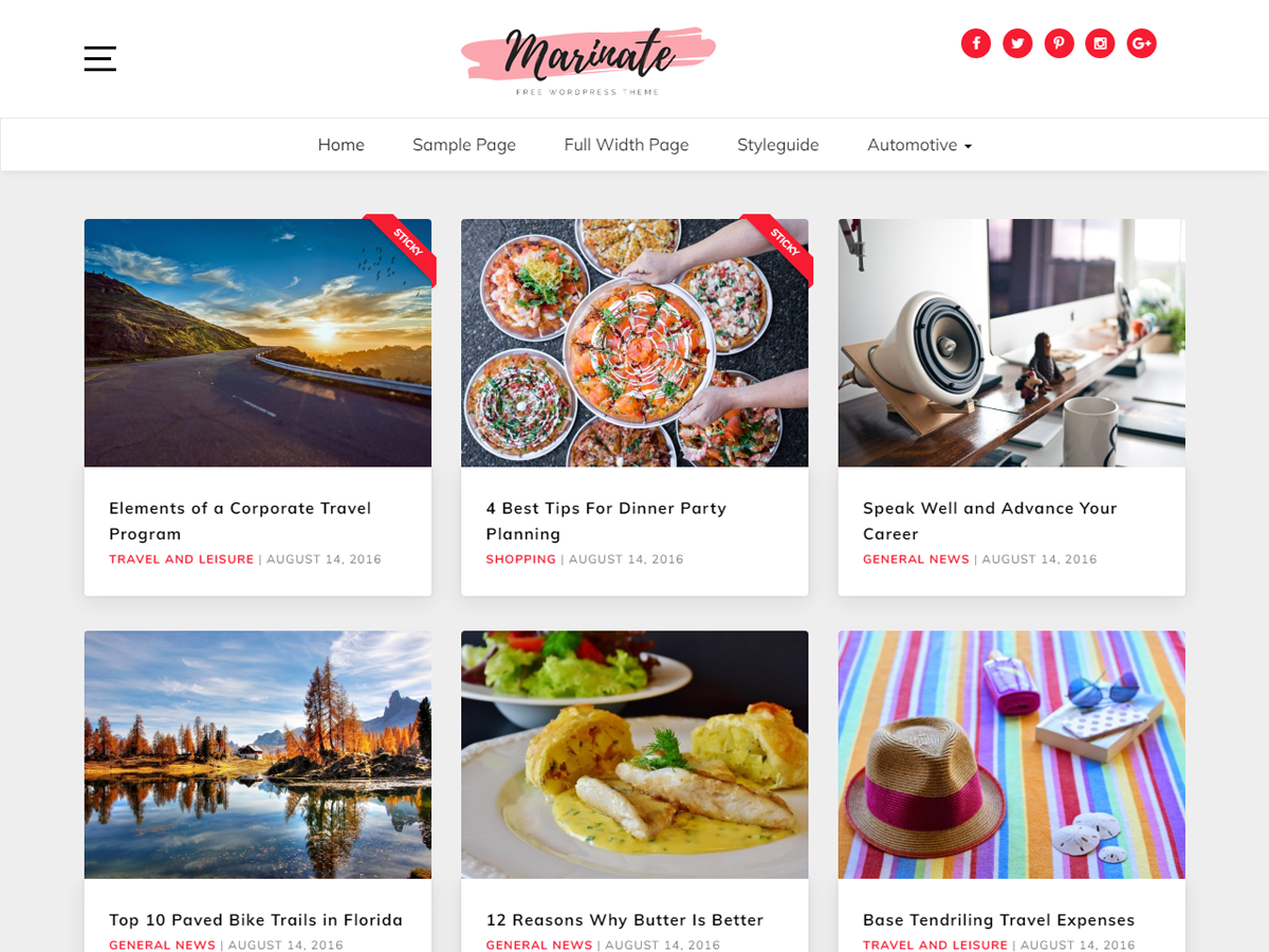 Download Marinate 1.0.4 – Free WordPress Theme